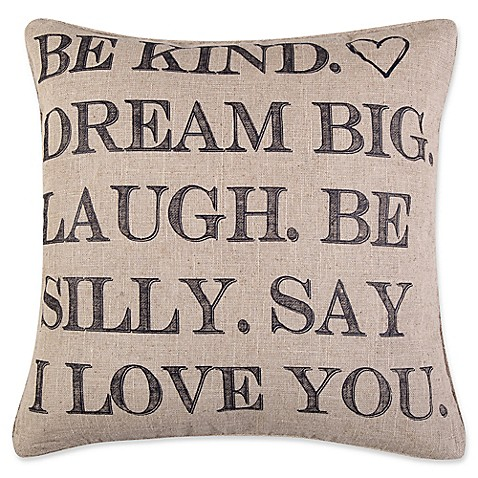 Levtex Home Kora Be Kind Square Throw Pillow in Brown - Bed Bath & Beyond
