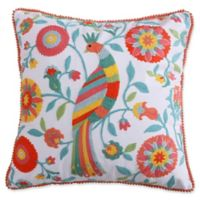 Levtex Home Kaitlyn Coral Bird Square Throw Pillow in White