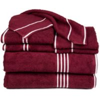 Nottingham Home Rio Bath Towels in Burgundy (Set of 8)