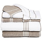Nottingham Home Rio Bath Towels in White/Taupe (Set of 8)
