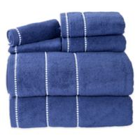 Nottingham Home 6-Piece Quick Dry Zero Twist Towel Set in Navy/White