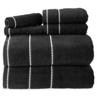 Nottingham Home 6-Piece Quick Dry Zero Twist Towel Set in Black/White