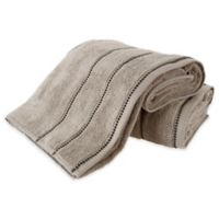 Nottingham Home 2-Piece Quick Dry Zero Bath Sheet Set in Taupe/Black