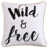 """Levtex Home Nadya """"Wild & Free"""" Square Throw Pillow in White/Black"""