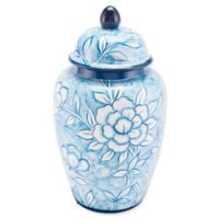 Zuo® Modern Large Flower Temple Jar in Blue and White