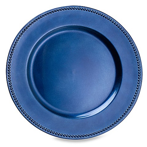 Beaded Charger Plates (Set of 6) - Blue