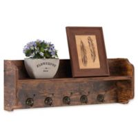 Danya B™ Wood Utility Wall Shelf with Hooks in Aged Pine