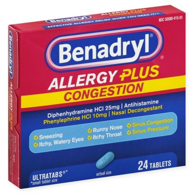 Benadryl Allergy Plus Congestion Ultra Tablets, 24 Count Each (7)