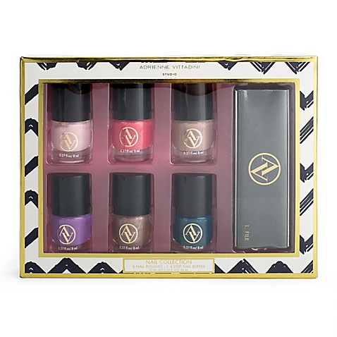 image of Adrienne Vittadini 7-Piece Nail Polish Gift Set in Pink