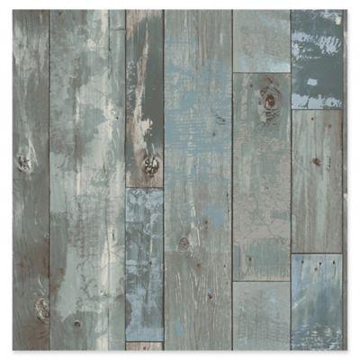 Deena Distressed Wood Wallpaper In Blue
