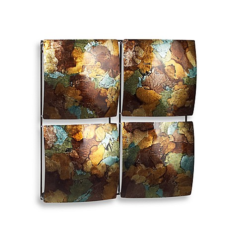 Multi colored four square metal wall decor bed bath beyond for Beyond the wall mural design