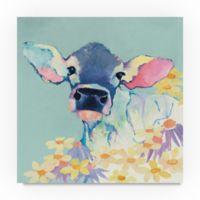 Trademark Fine Art Bessie Flowers Teal 24-Inch Square Canvas Wall Art