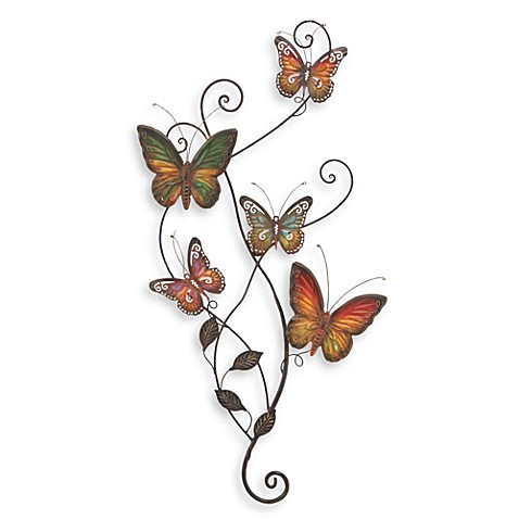metal butterflies wall decor bed bath beyond. Black Bedroom Furniture Sets. Home Design Ideas