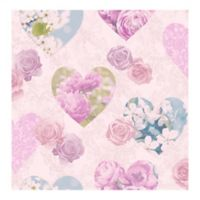 Fine Décor Amour Floral Hearts Wallpaper in Pink
