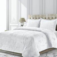 Tribeca Living Venice Velvet Twin Duvet Cover Set in White