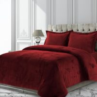 Tribeca Living Venice Velvet Twin Duvet Cover Set in Burgundy