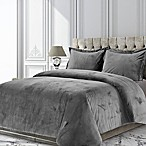 Tribeca Living Venice Velvet Queen Duvet Cover Set in Smoke Grey