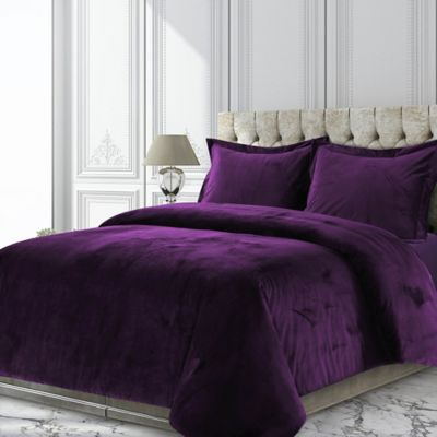 Tribeca Living Venice Velvet Twin Duvet Cover Set In Purple