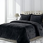 Tribeca Living Venice Velvet Queen Duvet Cover Set in Black