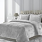 Tribeca Living Venice Velvet King Duvet Cover Set in Silver