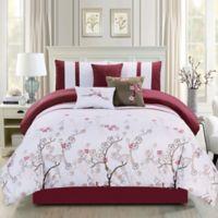 Elight Home Justin 7-Piece King Comforter Set in Pink
