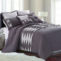 Pacific Coast Textiles Romero 8-Piece Queen Comforter Set in Grey