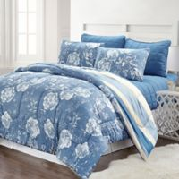 Pacific Coast Textiles Blair Striped 6-Piece Queen Comforter Set in Blue