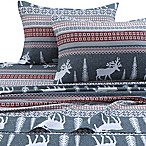 Tribeca Living 170 GSM Winter Reindeer Flannel King Sheet Set in Red/Grey
