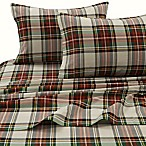 Tribeca Living 170 GSM Charleston Plaid Flannel Queen Sheet Set in Red/Ivory