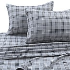 Tribeca Living 170 GSM Savanna Plaid Flannel Queen Sheet Set in Grey