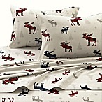 Tribeca Living 170 GSM Plaid Moose Flannel Queen Sheet Set in Red