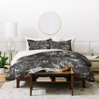 Deny Designs Pattern State Floral Charcoal King Duvet Cover Set