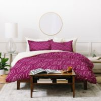 Deny Designs Craftbelly Topiary King Duvet Cover Set in Purple