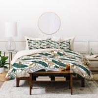 Deny Designs Holli Zollinger Orchid Garden King Duvet Cover Set in Green