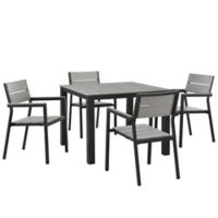 Modway Maine Outdoor 5-Piece 40-Inch Patio Dining Set in Grey/Brown