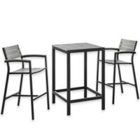 Modway Maine Outdoor 3-Piece Patio Bar Set in Grey/Brown