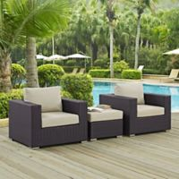 Modway Convene 3-Piece Outdoor Patio Armchair Set in Espresso/Beige