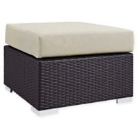 Modway Convene Outdoor Patio Square Ottoman in Espresso/Beige