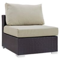 Modway Convene Outdoor Patio Armless Chair in Espresso/Beige