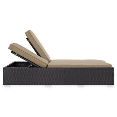 Modway Convene Outdoor Patio Double Chaise In Mocha