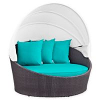 Modway Convene Outdoor Patio Canopy Daybed in Espresso/Turquoise