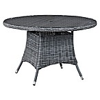 Modway Summon 47-Inch Round Outdoor Wicker Dining Table in Grey