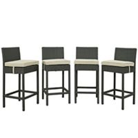 Modway Sojourn Outdoor Patio Barstools in Antique Beige (Set of 4)