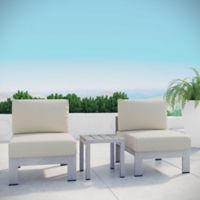 Modway Shore 3-Piece Aluminum Patio Sectional Sofa Set in Silver/Beige