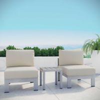 Modway Shore 3-Piece Aluminum Patio Sectional Sofa Set in Silver/Beige