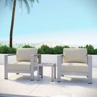 Modway Shore 3-Piece Aluminum Patio Seating Set in Silver/Beige