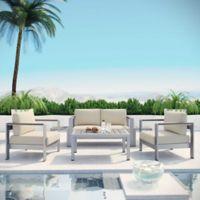Modway Shore 6-Piece Aluminum Patio Sectional Sofa Set in Silver/Beige