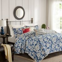 Madison Park Lucy Reversible Full/Queen Coverlet Set in Navy