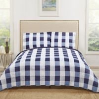 Truly Soft Buffalo Plaid King Quilt Set in Navy