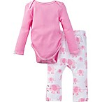 MiracleWear® Size 0-6M Posheez Snap 'n Grow Elephant Long Sleeve Bodysuit and Pant Set in Pink